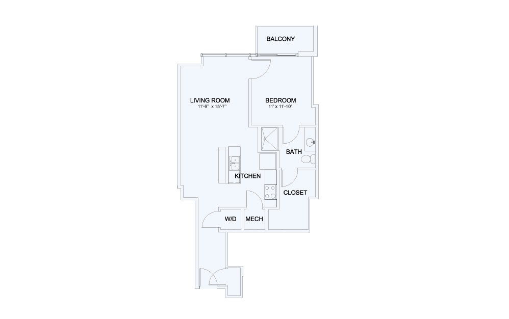 SkyHouse® 13 - 1 bedroom floorplan layout with 1 bath and 763 square feet.