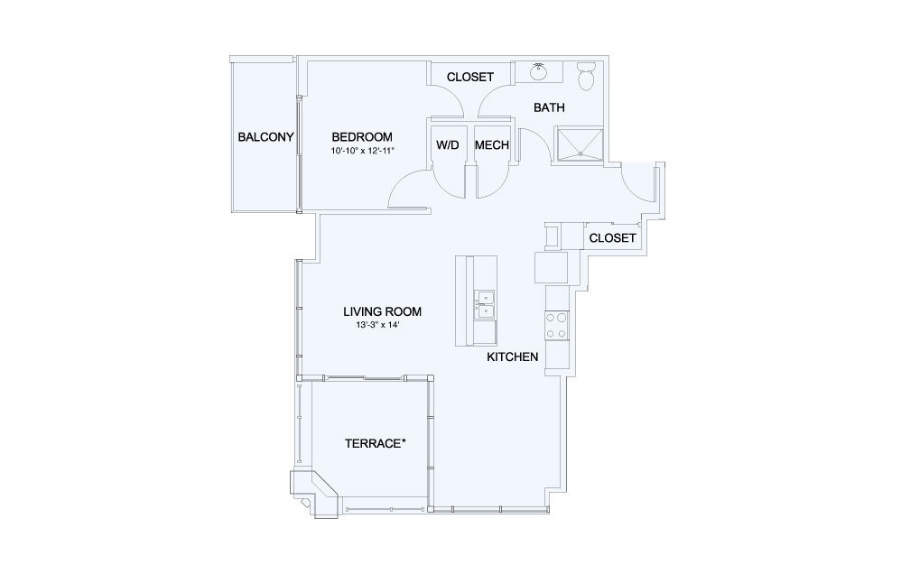 SkyHouse® 16 - 1 bedroom floorplan layout with 1 bath and 898 square feet.