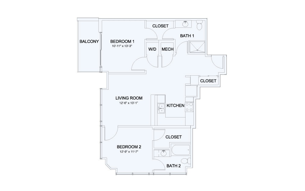 SkyHouse® 18 - 2 bedroom floorplan layout with 2 baths and 1029 square feet.