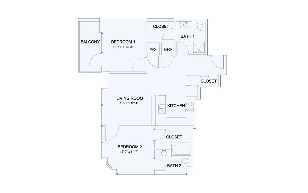 SkyHouse® 19 - 2 bedroom floorplan layout with 2 baths and 1029 square feet.