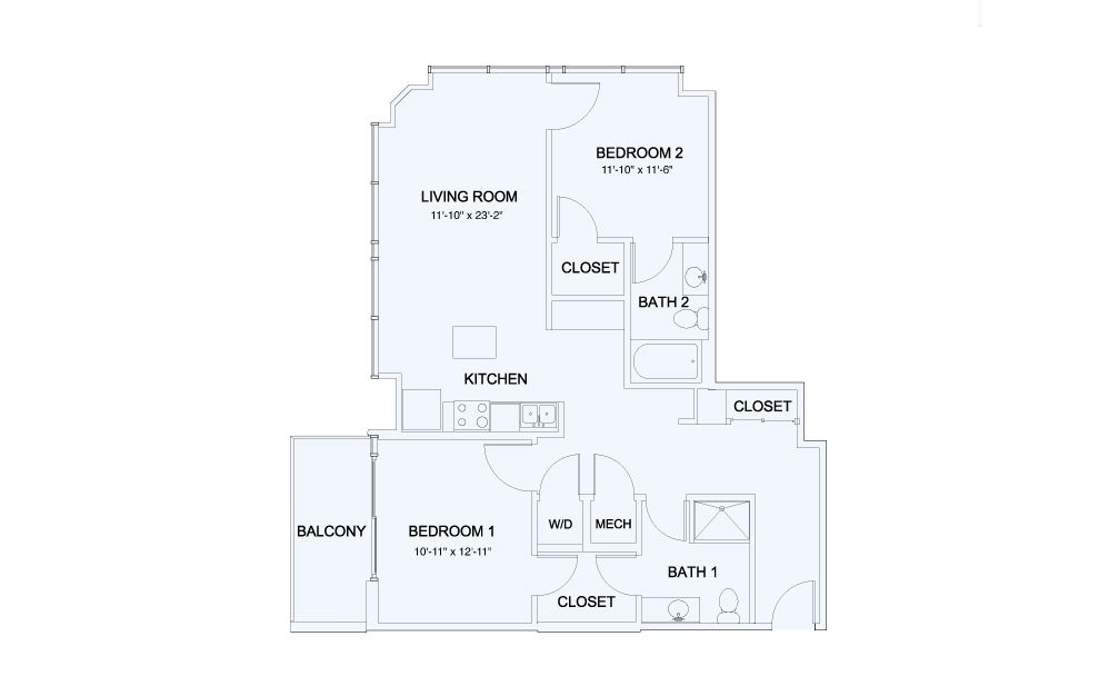 SkyHouse® 20 - 2 bedroom floorplan layout with 2 baths and 1078 square feet.