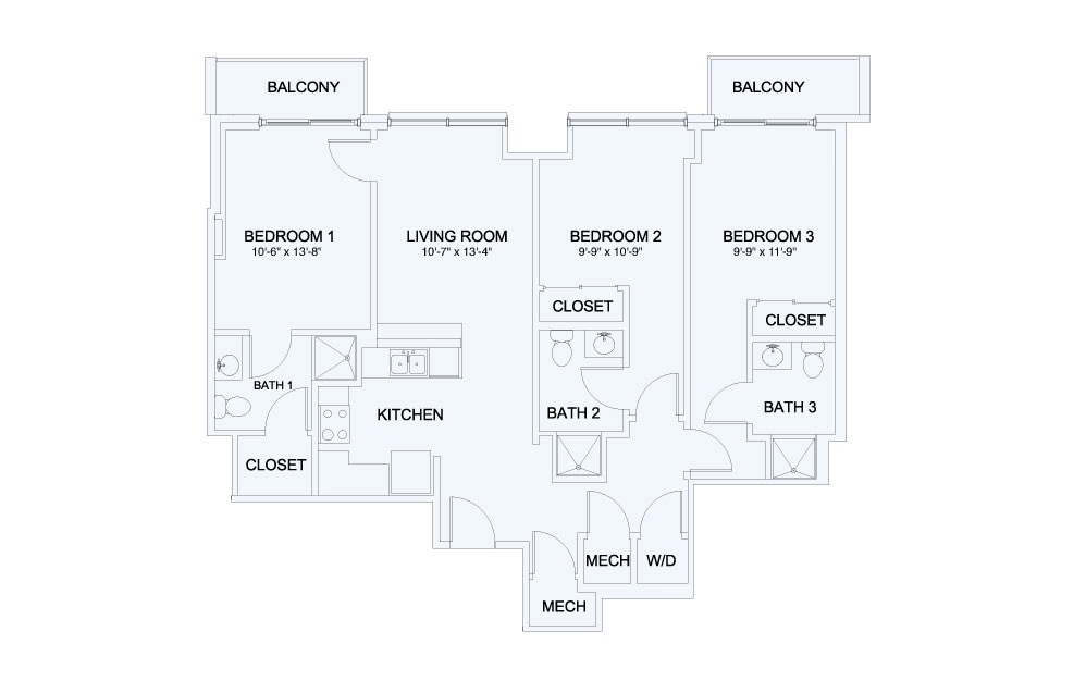 SkyHouse® 21 - 3 bedroom floorplan layout with 3 baths and 1189 square feet.