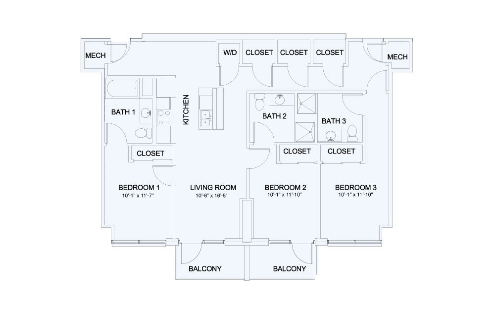 SkyHouse® 22 - 3 bedroom floorplan layout with 3 baths and 1348 square feet.