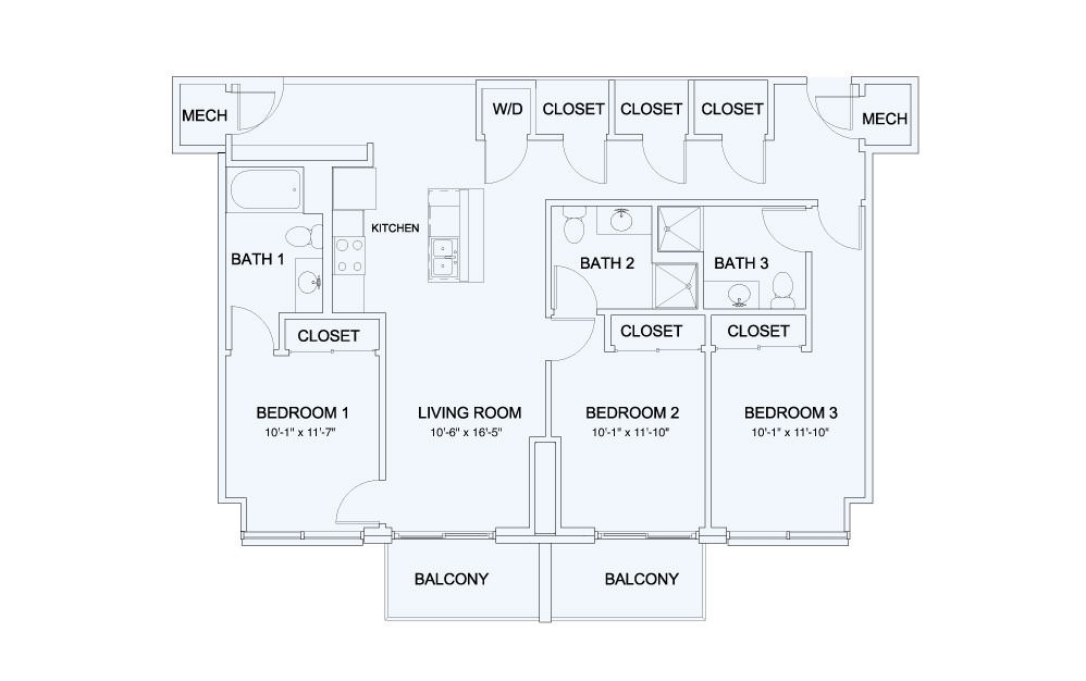 SkyHouse® 23 - 3 bedroom floorplan layout with 3 baths and 1348 square feet.