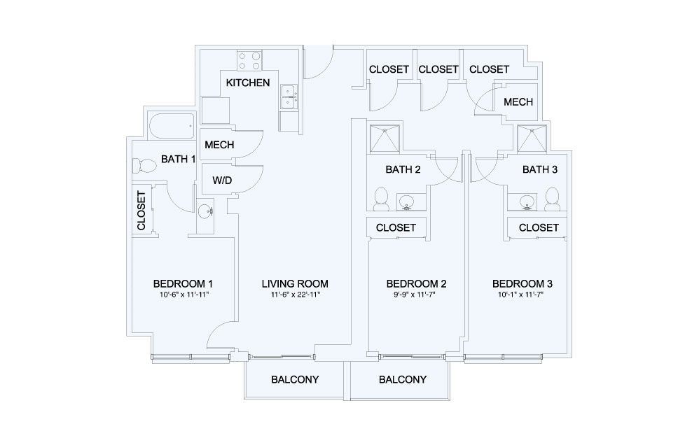 SkyHouse® 24 - 3 bedroom floorplan layout with 3 baths and 1382 square feet.