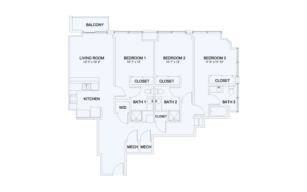 SkyHouse® 25 - 3 bedroom floorplan layout with 3 baths and 1421 square feet.