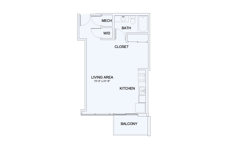 SkyHouse® 3 - Studio floorplan layout with 1 bath and 586 square feet.