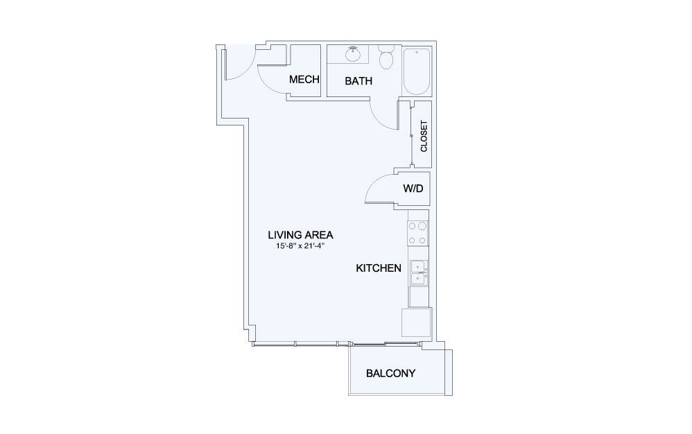 SkyHouse® 4 - Studio floorplan layout with 1 bath and 618 square feet.