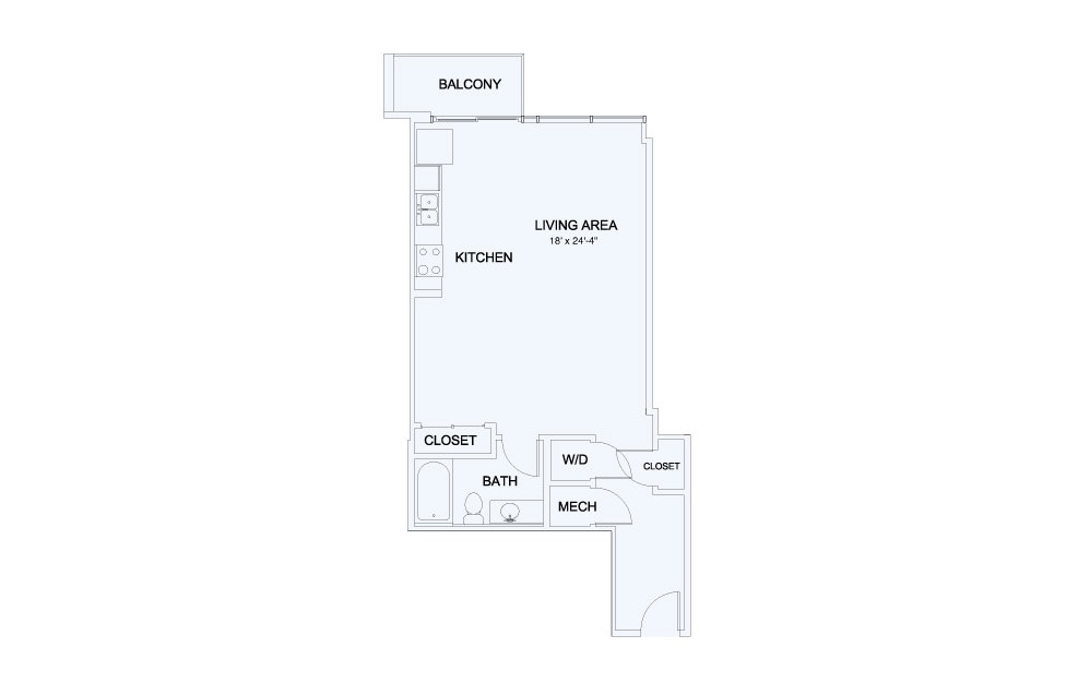 SkyHouse® 5 - Studio floorplan layout with 1 bath and 673 square feet.