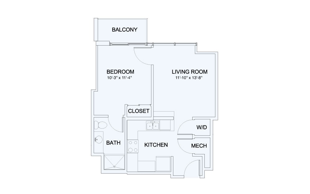 SkyHouse® 6 - 1 bedroom floorplan layout with 1 bath and 593 square feet.