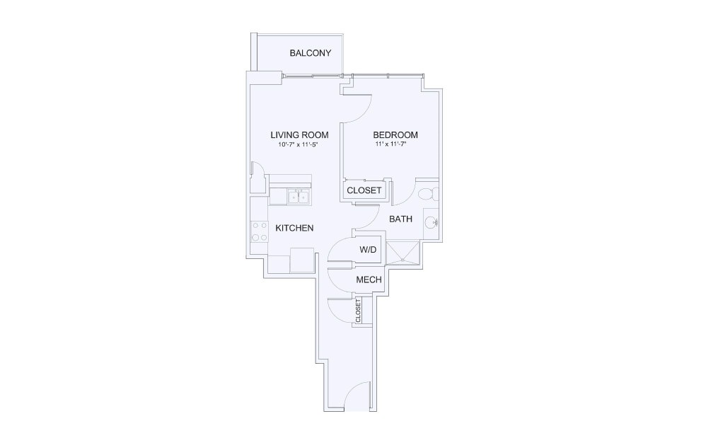 SkyHouse® 7 - 1 bedroom floorplan layout with 1 bath and 648 square feet.