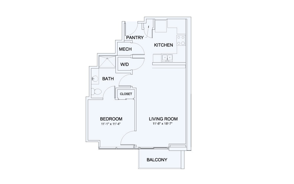SkyHouse® 8 - 1 bedroom floorplan layout with 1 bath and 678 square feet.