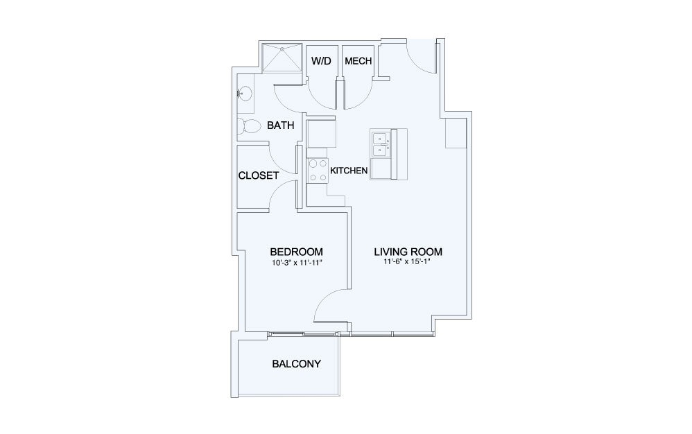 SkyHouse® 9 - 1 bedroom floorplan layout with 1 bath and 694 square feet.